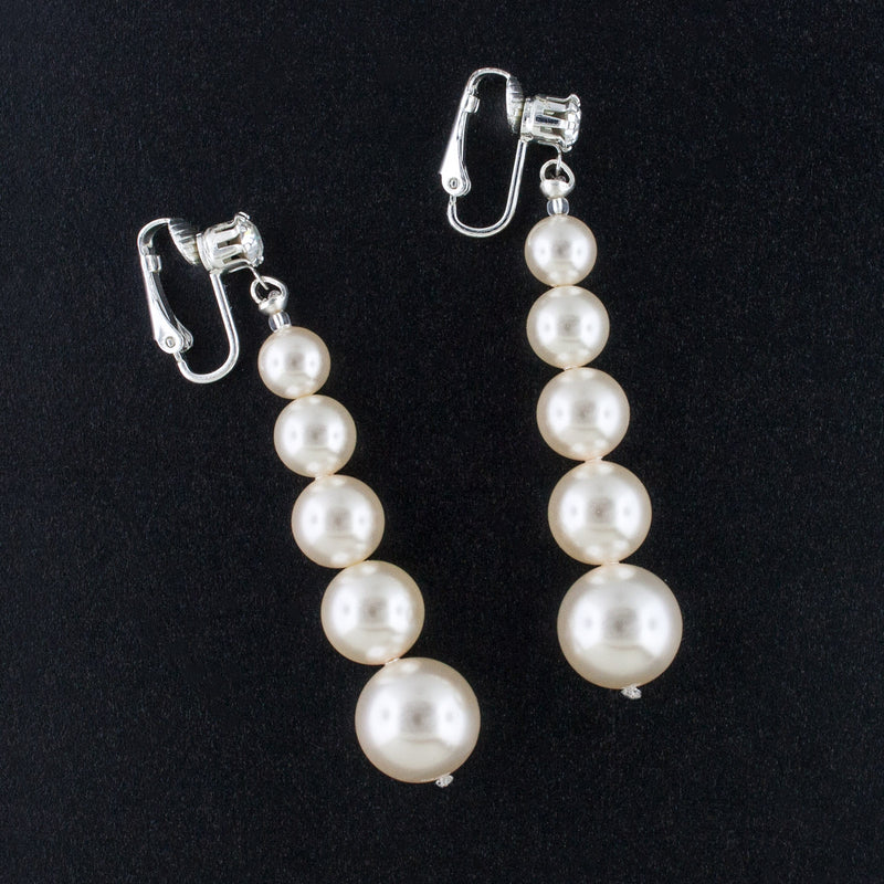 Clip-on Graduated Pearl Earrings - custom lengths