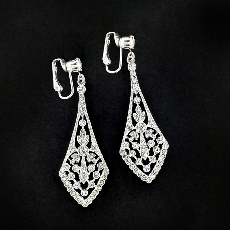 Clip On Silver Vintage-Inspired CZ Earrings
