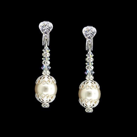 Bridal Earrings with Pearl, Crystal & Filigree - clip