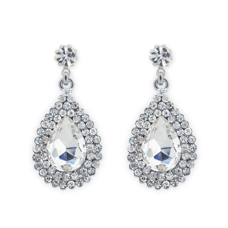 Rhinestone teardrop earrings silver - clip on