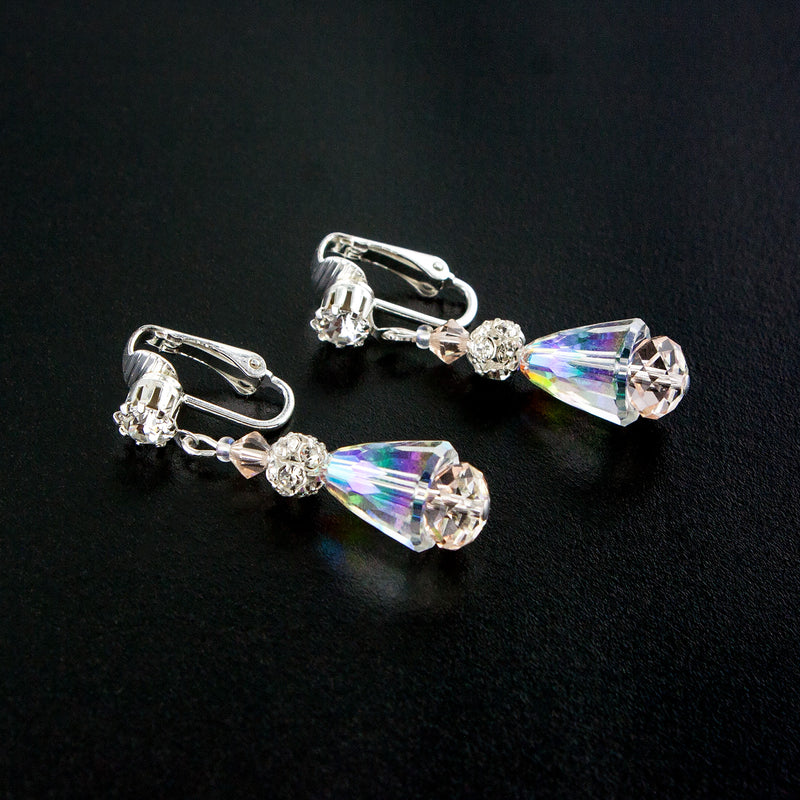 Clip-on Iridescent & Champagne Drop Earrings