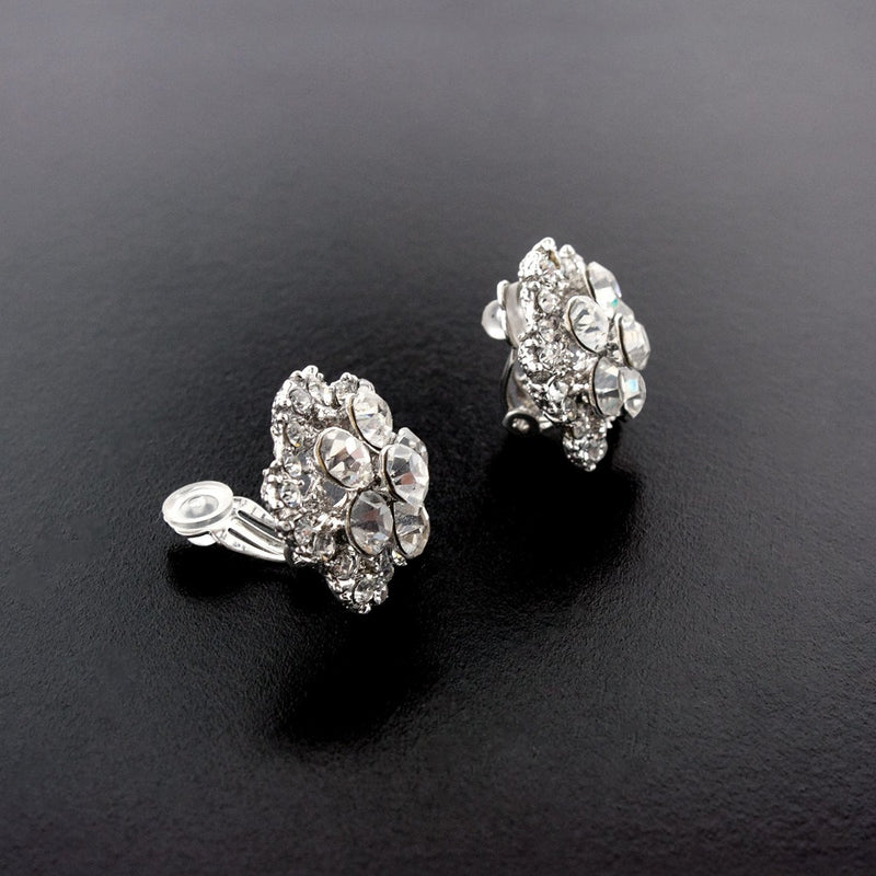 Five Petal Crystal Cluster Earrings, Silver, clip-on