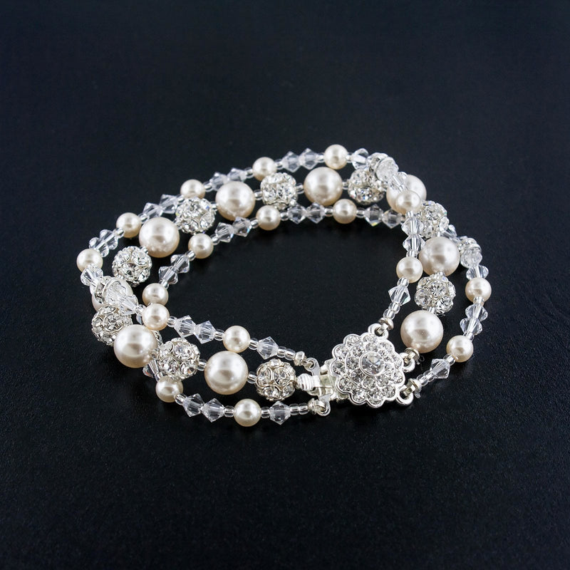 Three Row Beaded Wedding Bracelet - Cream Pearl