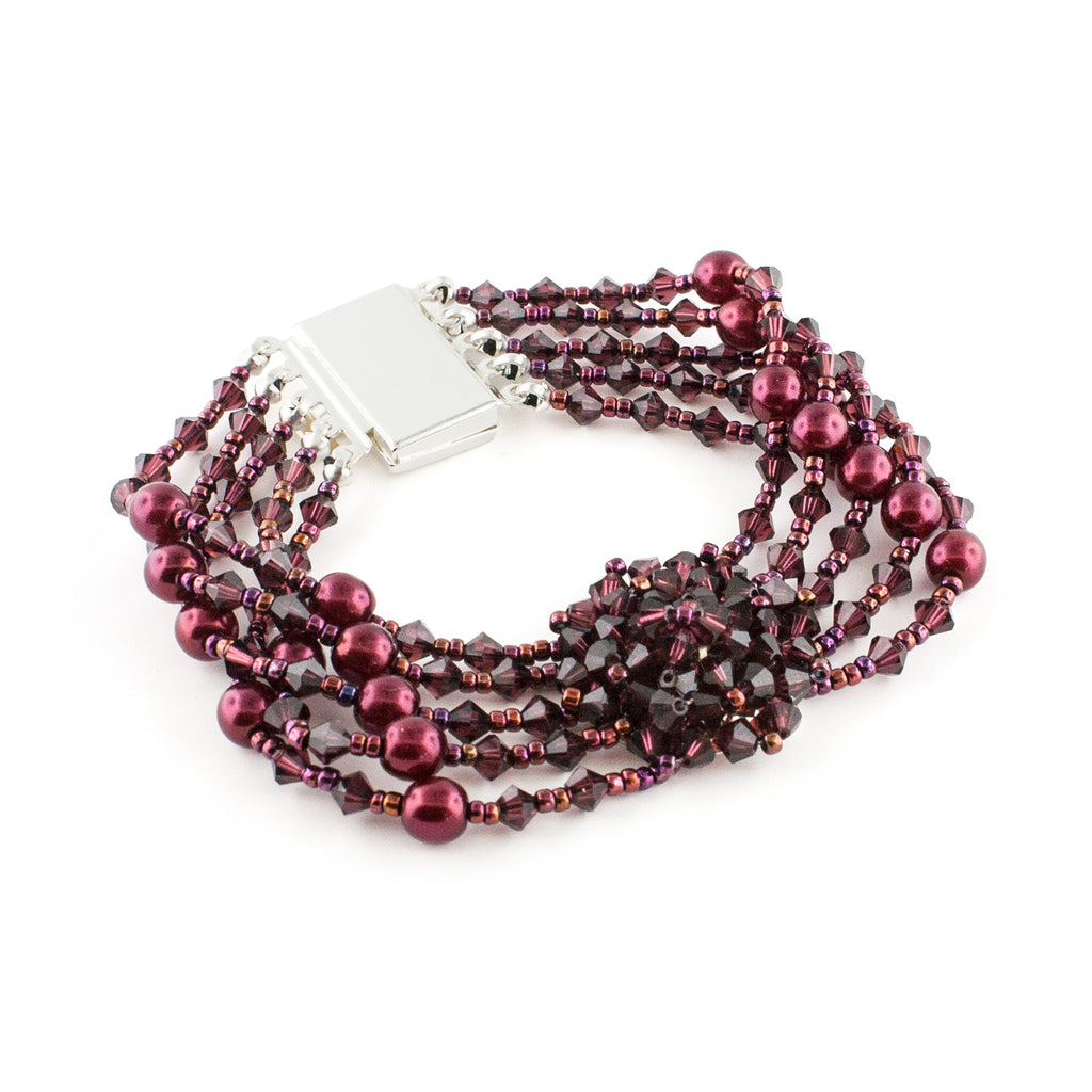 Multi-Row Beaded Bracelet with Cluster - Burgundy