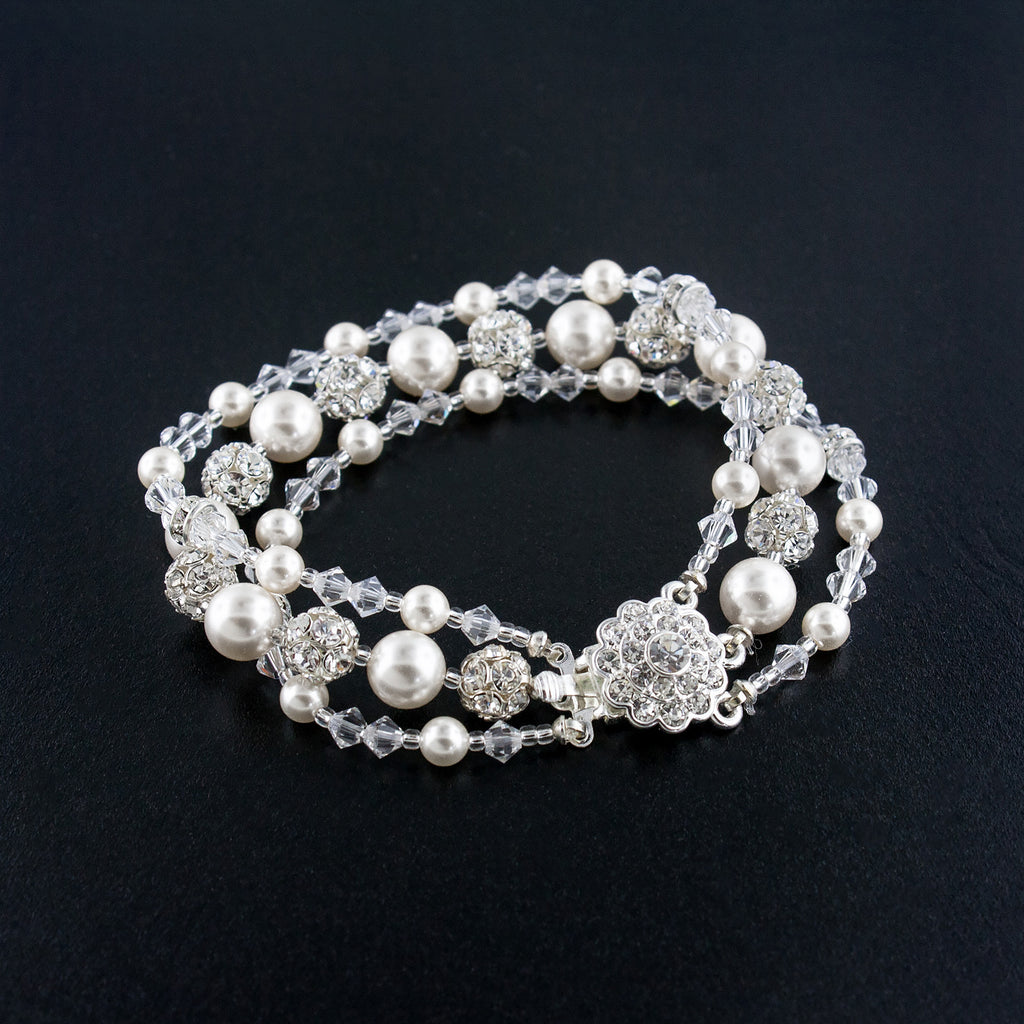 Three Row Beaded Wedding Bracelet - White Pearl