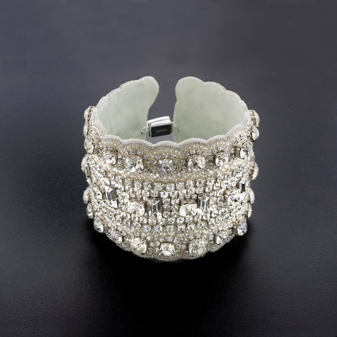 Beaded Crystal Applique Cuff Bracelet