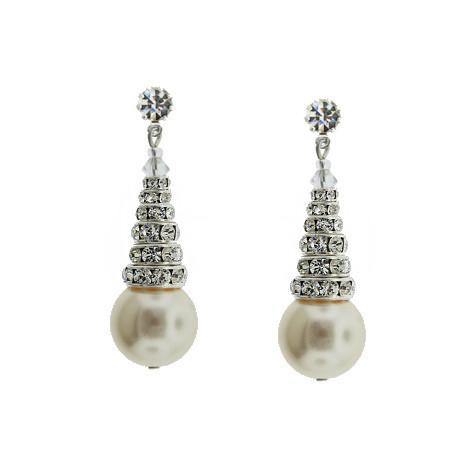 Earrings with Stacked Rondelles & Pearls - cream pearls