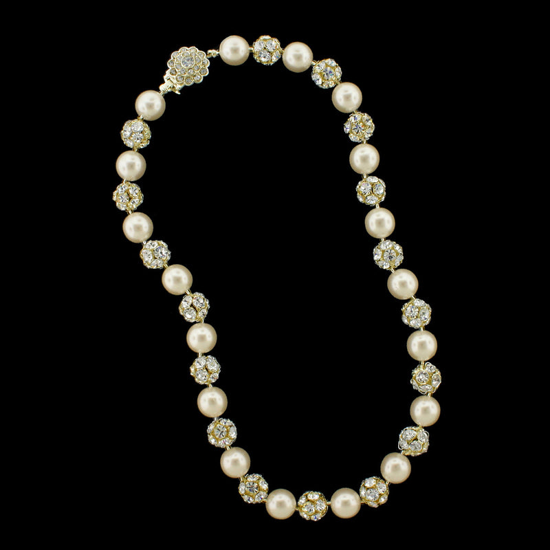 Cream pearl and gold rhinestone bead necklace