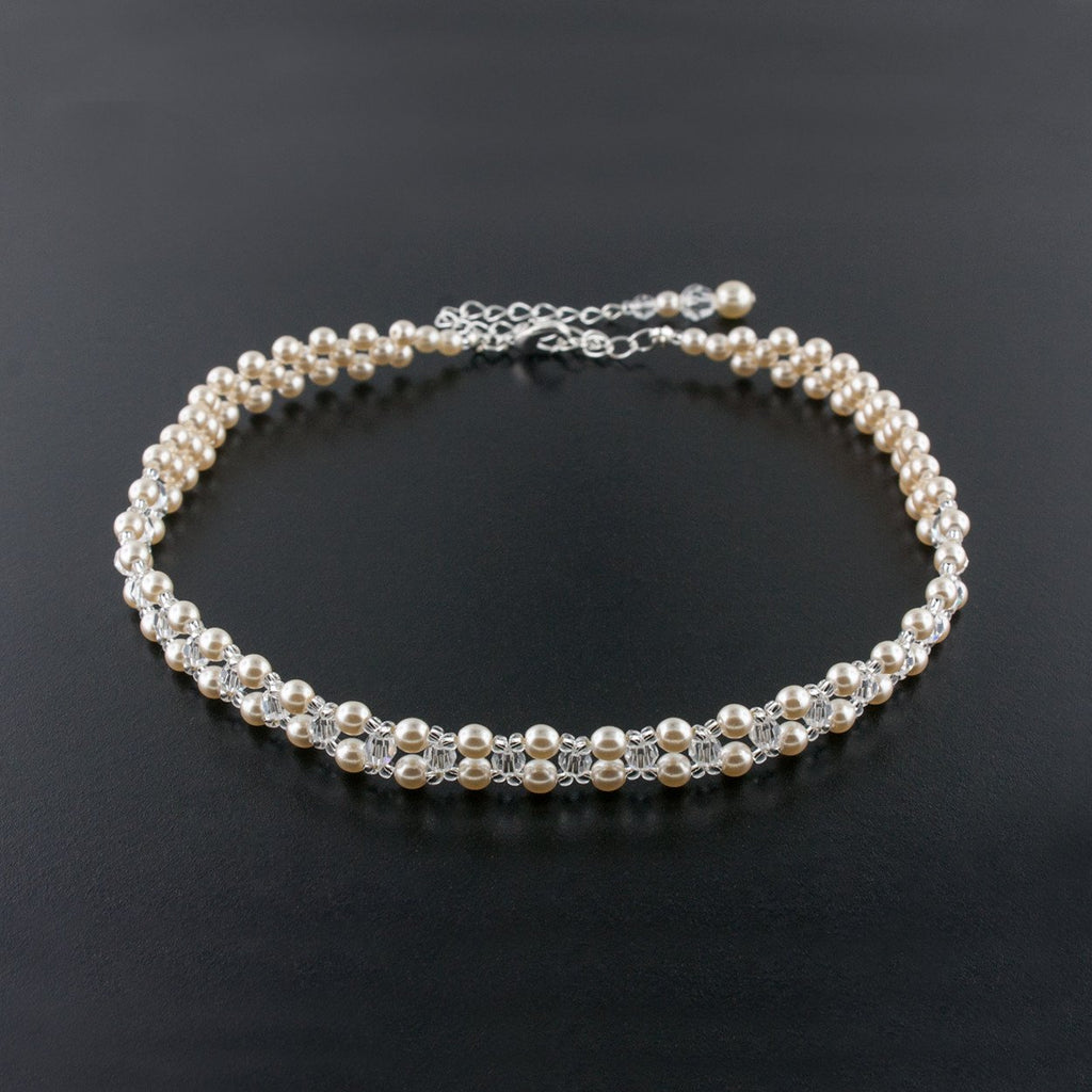 Woven Pearl & Crystal Choker Necklace - white