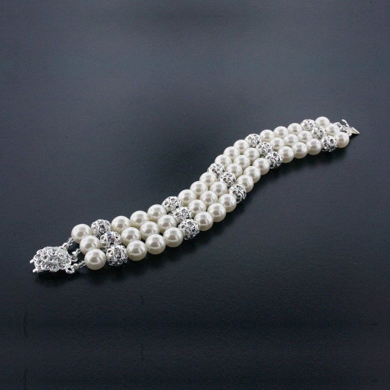 3 Row Cream Pearl Bracelet