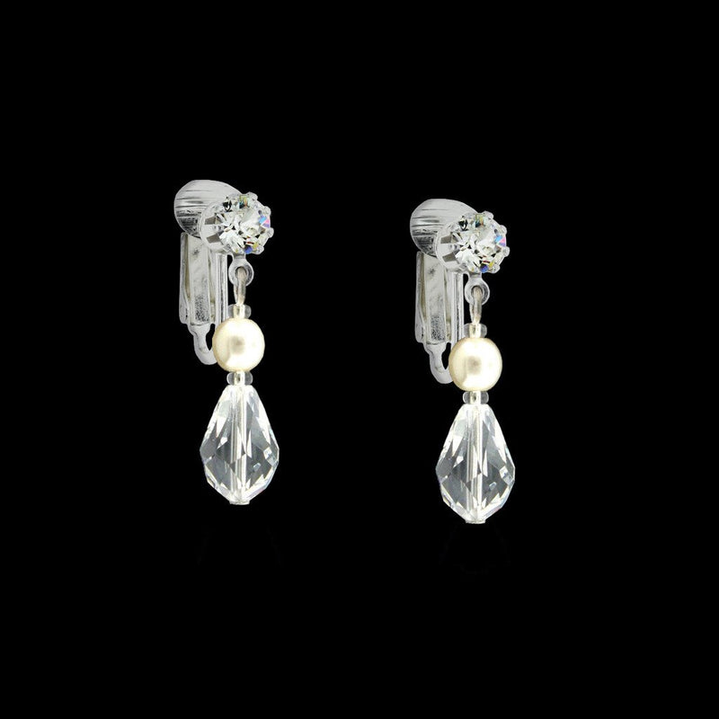 Crystal Drop Earrings with Pearl Center