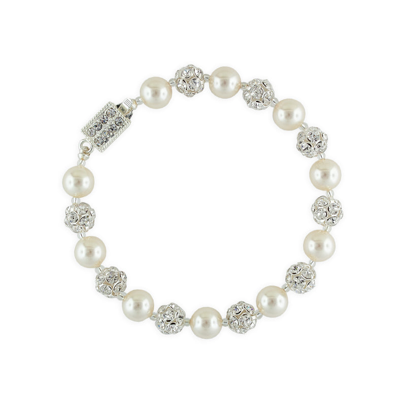 Cream Pearl Bracelet with Rhinestone Beads