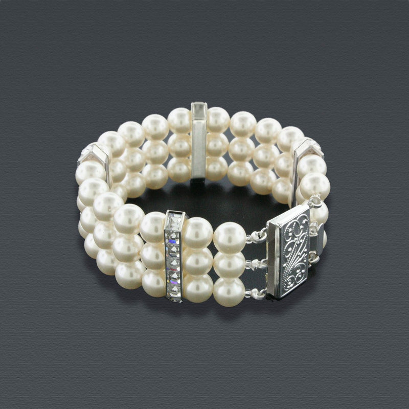 3 Row Cream Pearl Bracelet with Princess Cut Crystals