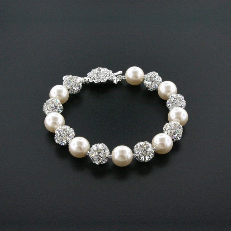 cream white pearl bracelet with rhinestone beads
