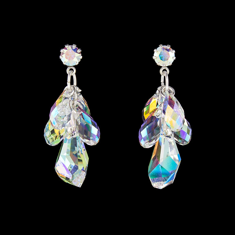 Iridescent Swarovski crystal cluster earrings