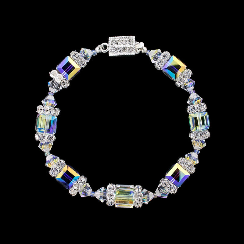 Geometric Beaded Crystal Bracelet - Iridescent