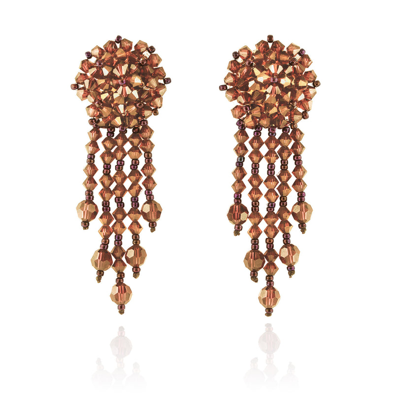 Orange Statement Earrings with Woven Cluster