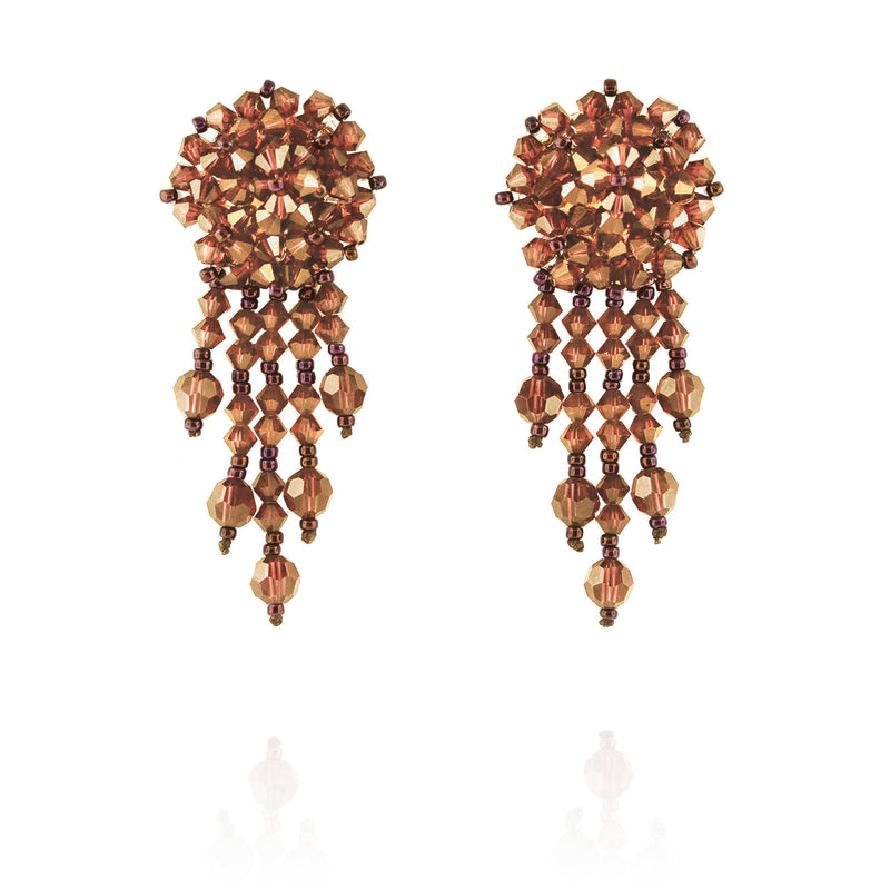 Orange Statement Earrings with Woven Cluster - short