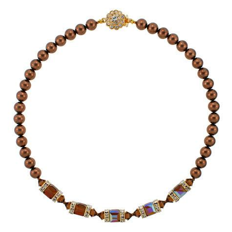 Brown Crystal & Pearl Necklace