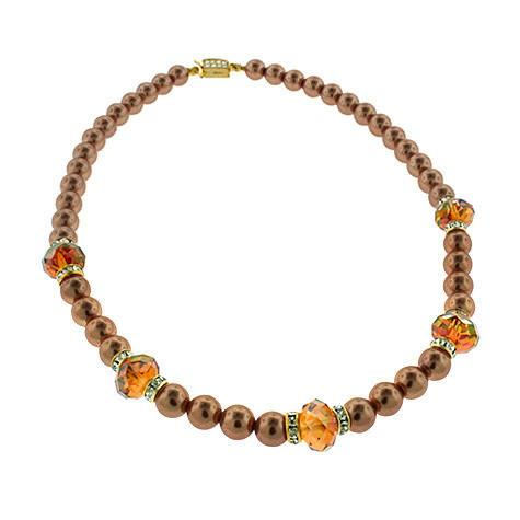 Copper-Orange Crystal & Pearl Necklace