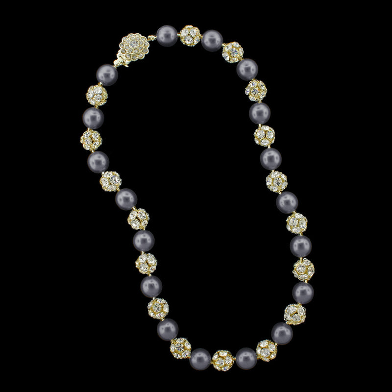 Dark grey pearl and gold rhinestone bead necklace