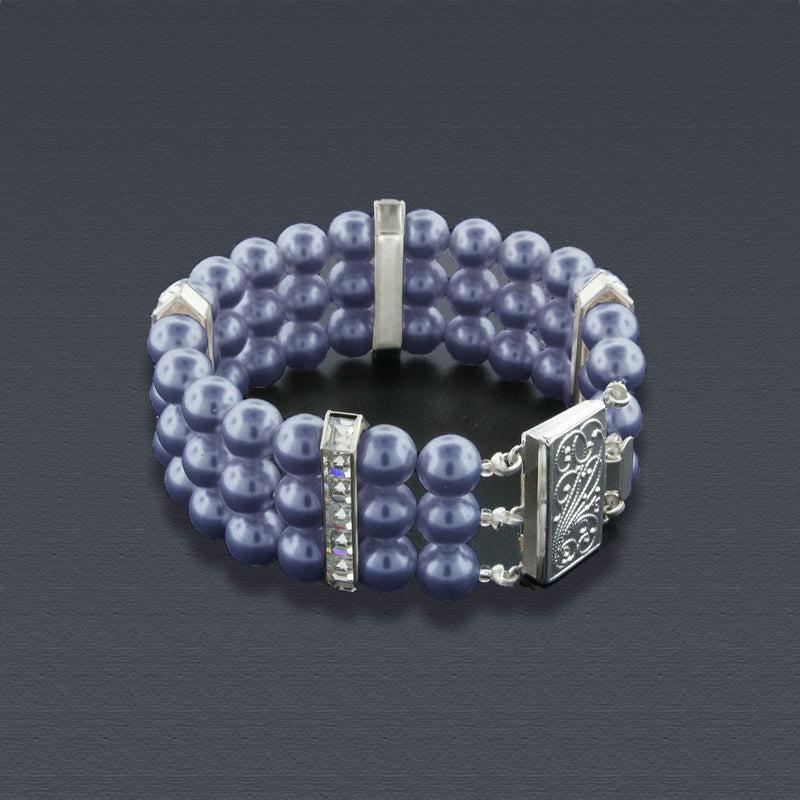 3 Row Dark Grey Pearl Bracelet with Princess Cut Crystals