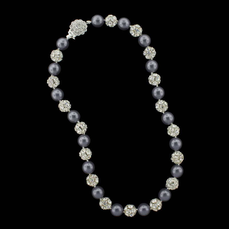 Dark grey pearl and silver rhinestone bead necklace