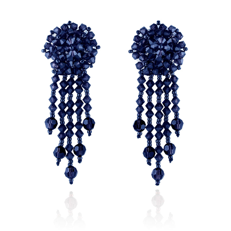 Navy Statement Earrings with Woven Cluster