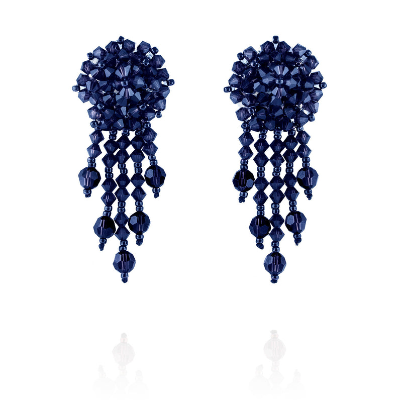 Navy Statement Earrings with Woven Cluster - short