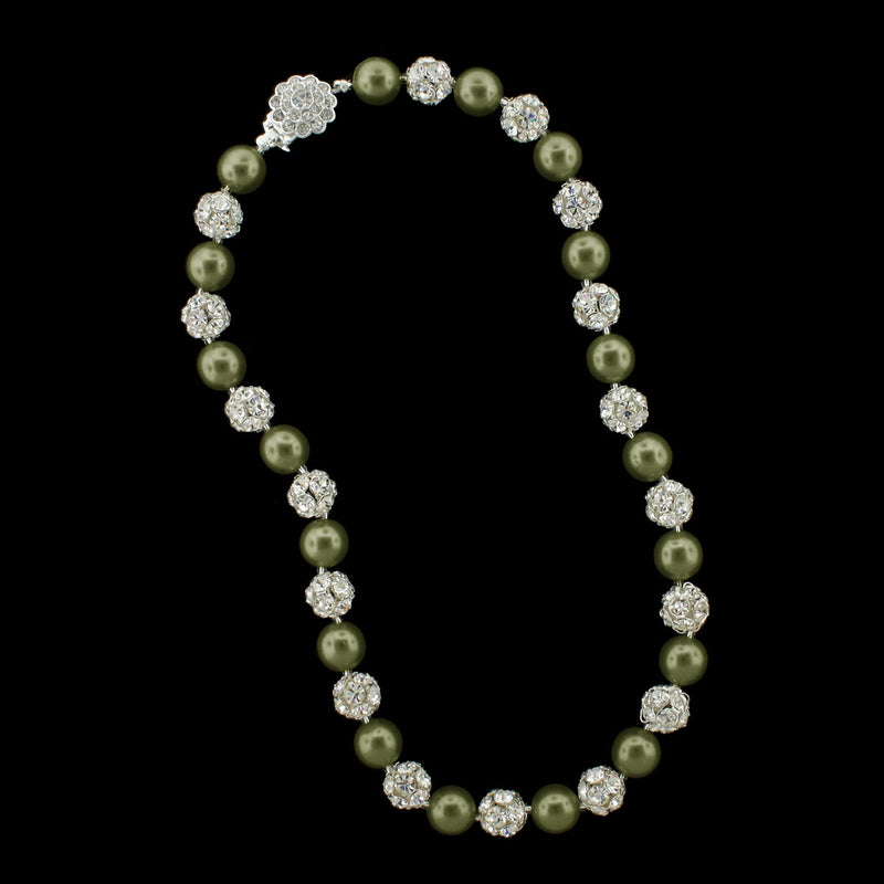 Dark olive pearl and silver rhinestone bead necklace