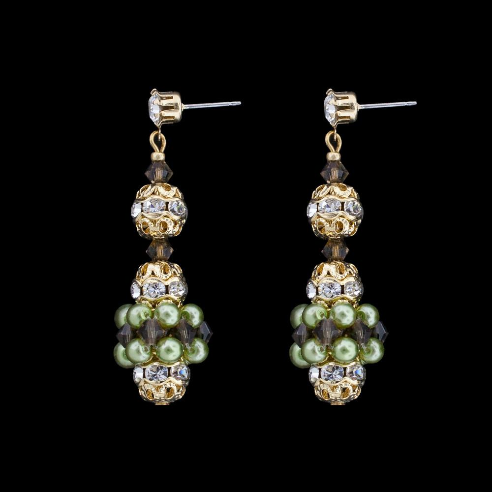 Pearl & Crystal Bridal Earrings - olive pearls