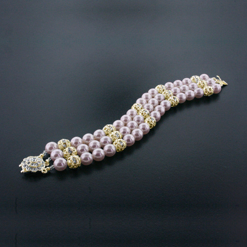 3 Row Pearl Bracelet with Crystal Accents