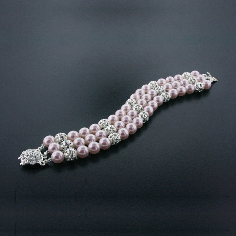 3 Row Rose Pearl Bracelet