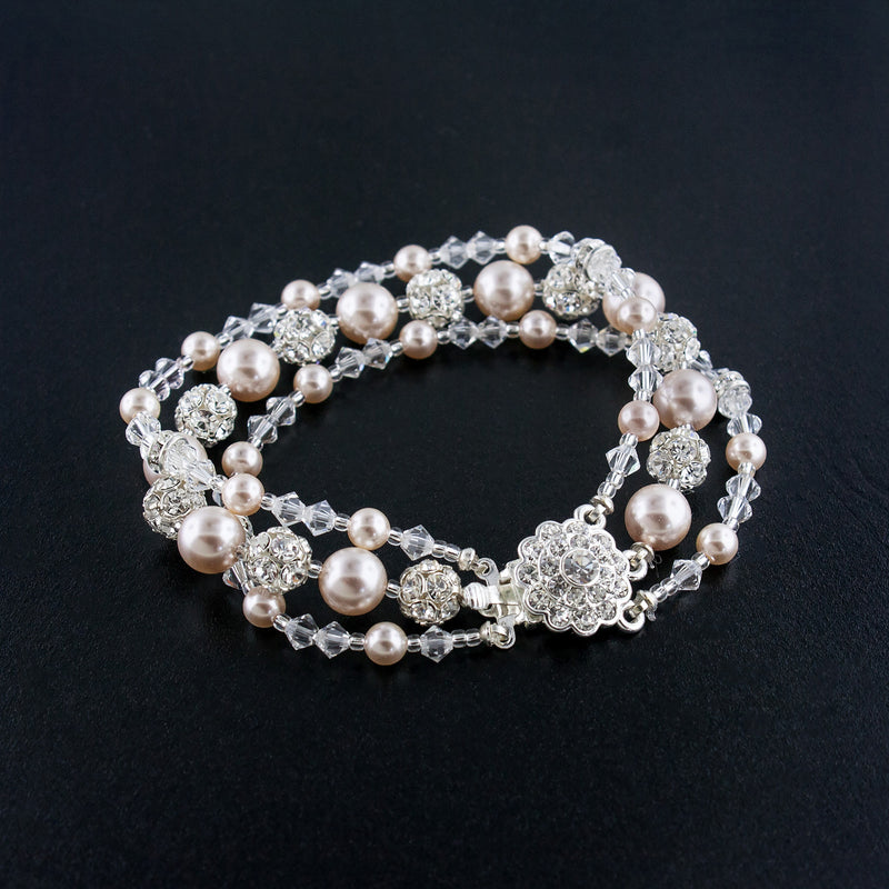 Three Row Beaded Wedding Bracelet - Rose pearl