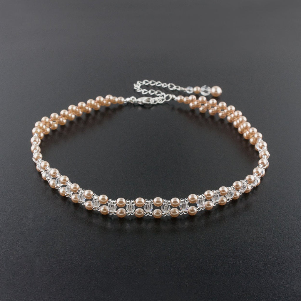 Woven Pearl & Crystal Choker Necklace - dark rose