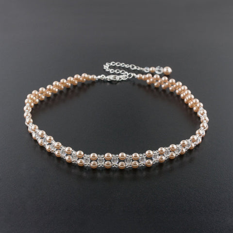 Woven Pearl & Crystal Choker Necklace