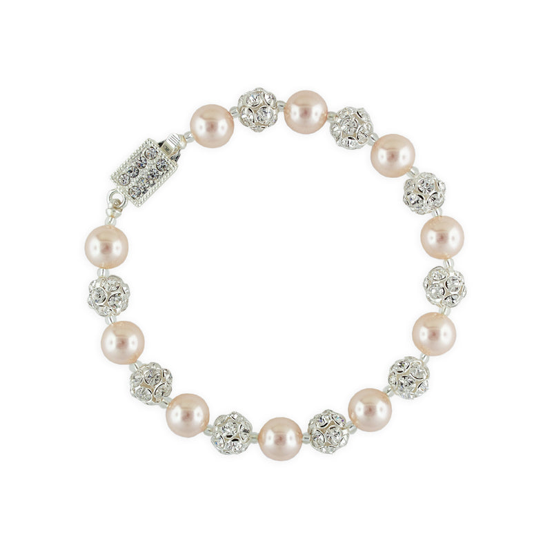 Rose Pearl Bracelet with Rhinestone Beads