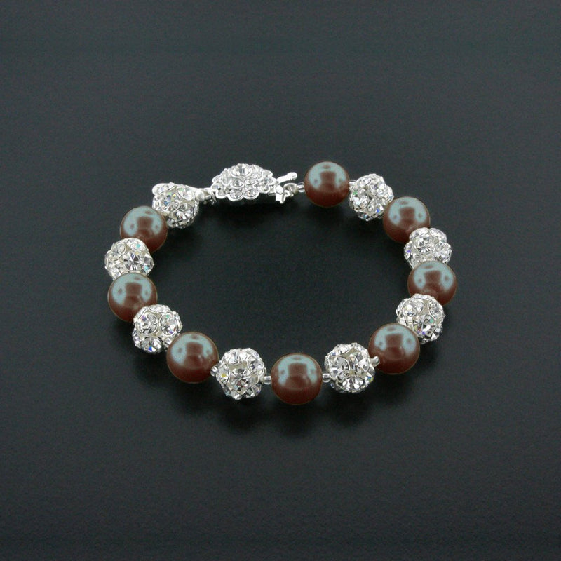 dark brown pearl bracelet with rhinestone beads