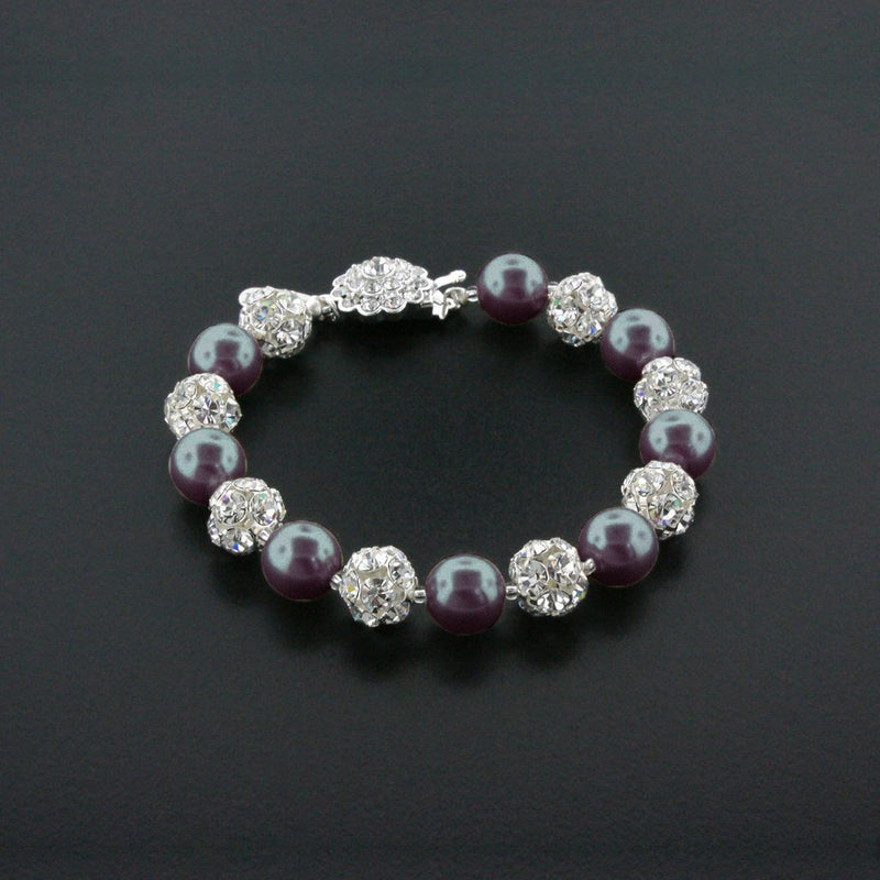 dark grey pearl bracelet with rhinestone beads