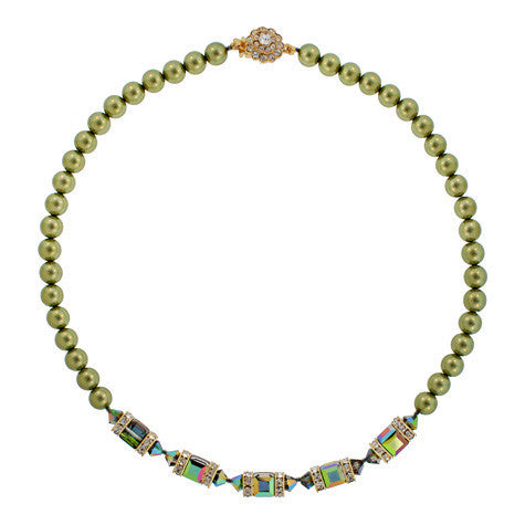 Dark olive pearl necklace - PPO-16