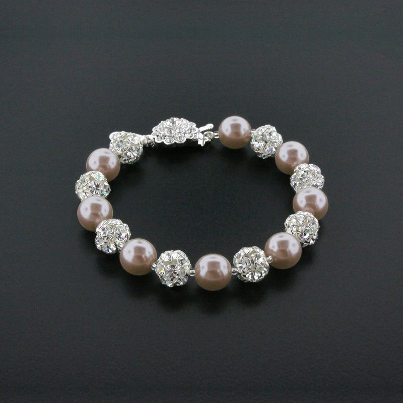 dark rose pearl bracelet with rhinestone beads