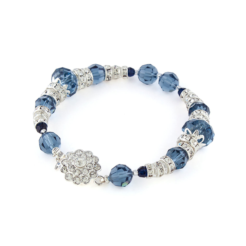 Filigree Accented Beaded Crystal Bracelet - Navy