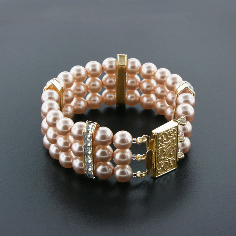Dark Rose 3 Row Pearl Bracelet with Princess Cut Crystals - Gold