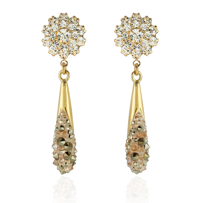 Crystal Studded Fluid Drop Earrings - gold
