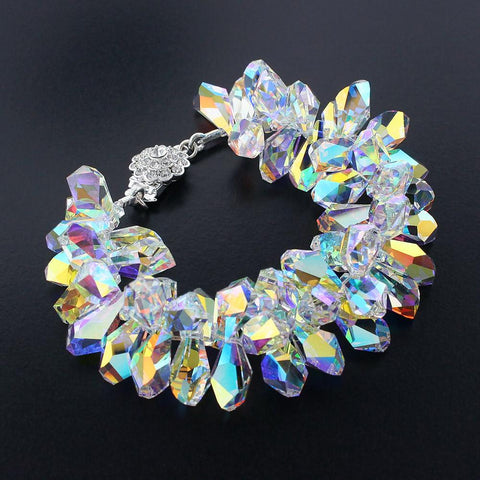 Statement Bracelet with Iridescent Crystals
