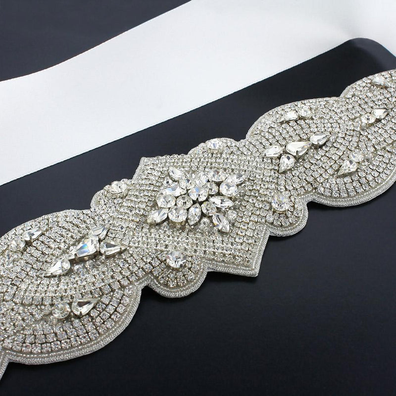 Wide Rhinestone Bridal Sash - white