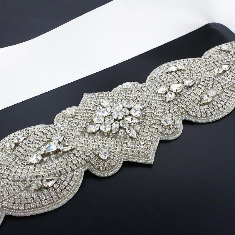 Wide Rhinestone Bridal Sash - ghost white