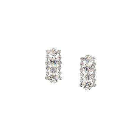 3 Row Crystal Earrings