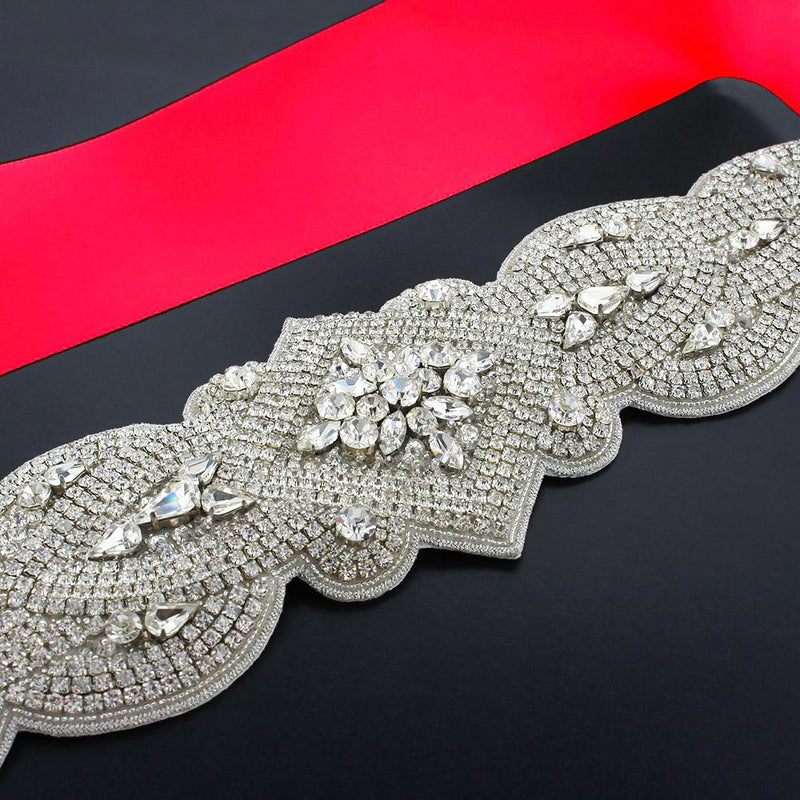Wide Rhinestone Bridal Sash - crimson red