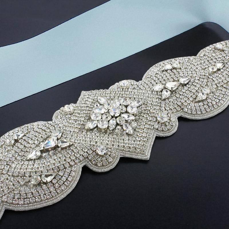Wide Rhinestone Bridal Sash - powder blue